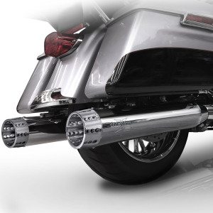 RC Components 4.5 inch Slip On Mufflers for Harley Davidson Touring Models '17-Up - Chrome (10 Tip Styles To Choose From)
