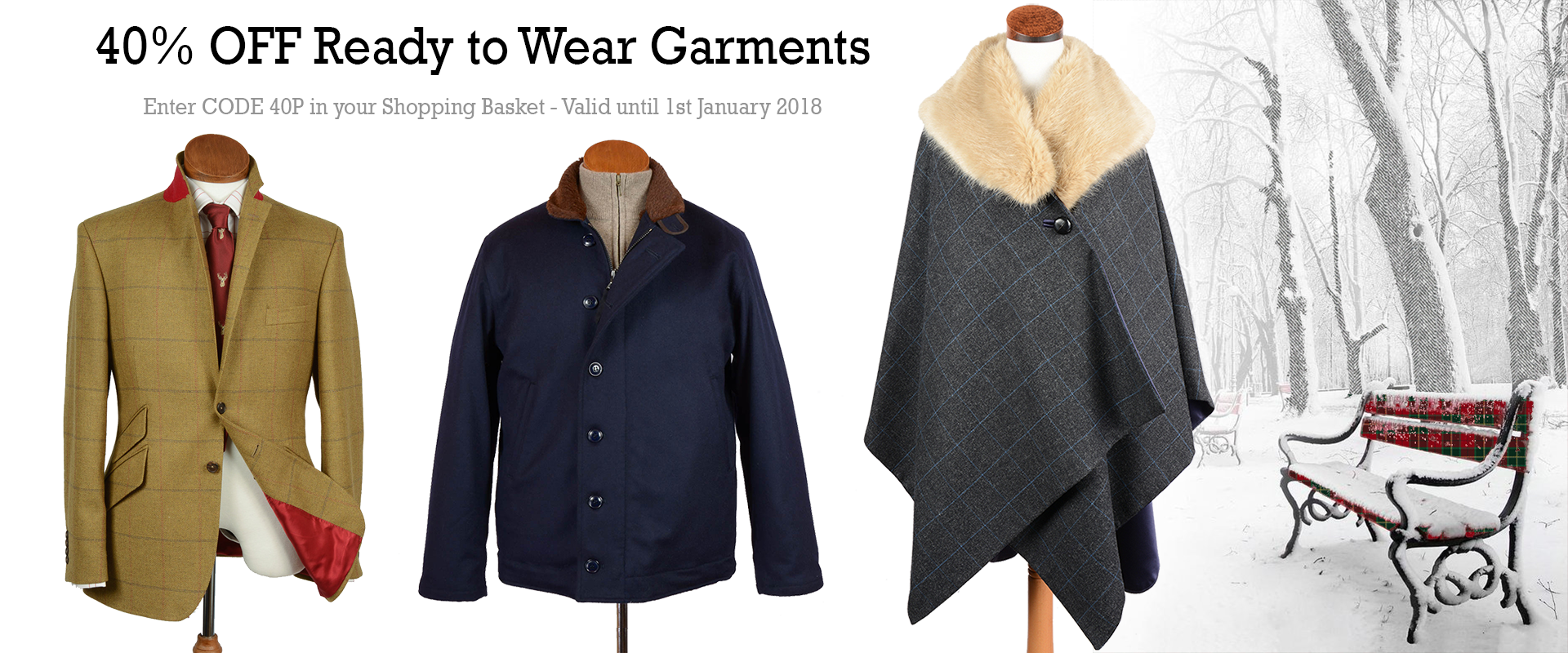 40% Off Tweed Jackets and Winter Wear