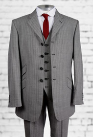 Grey Black Chalk Stripe Suit