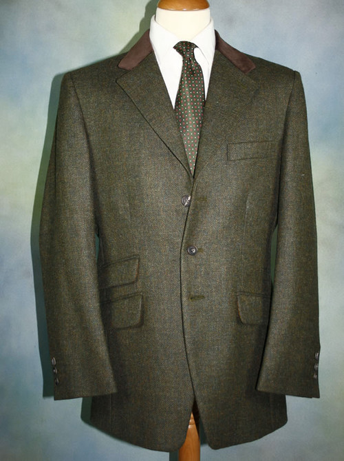 Plain Weave Moss Tweed Hacking Jacket
