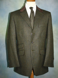 Plain Weave Moss Tweed Hacking Jacket