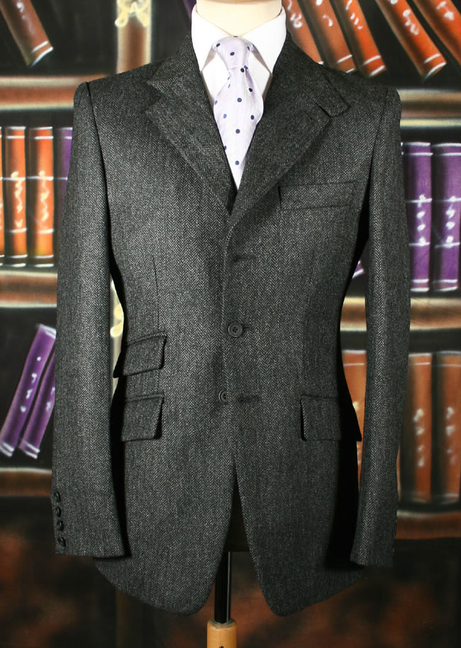 Charcoal Herringbone Tweed Jacket Bookster Tailoring
