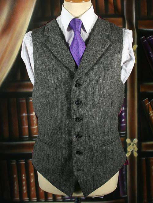Mid Grey Herringbone Tweed Waistcoat