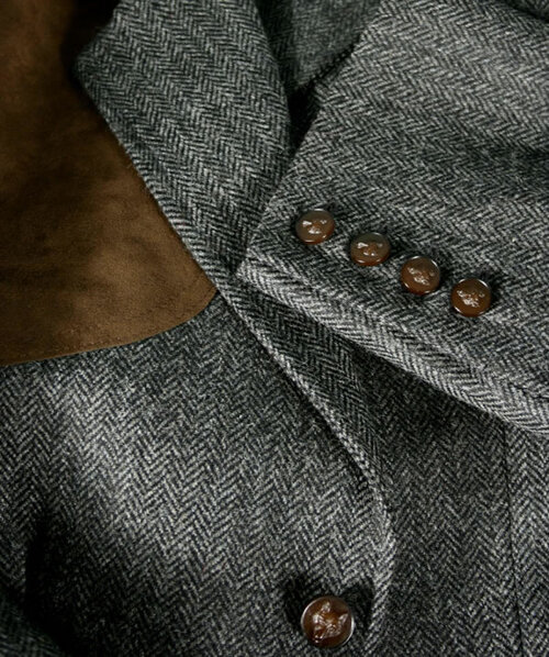 Dark Tan Elbow Patches and Brown Fox Head Buttons