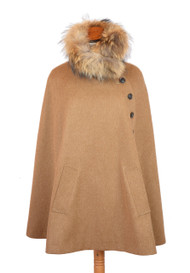 Womens Bookster Loden Wool Alpaca Cape with Real Fur Collar