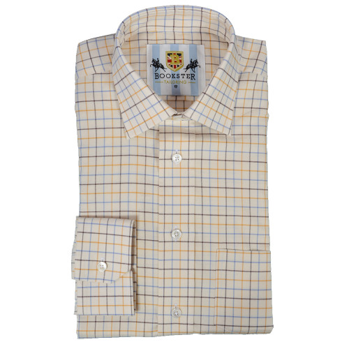 Bookster Tattersall Check Shirt -  Gold Brown Blue