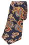 Navy Paisley Narrow Silk Tie