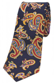 Navy Paisley Narrow Silk Tie