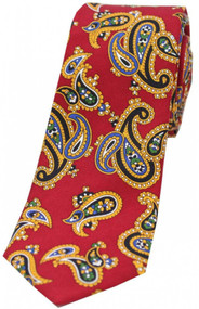 Edwardian Red Paisley Narrow Silk Tie