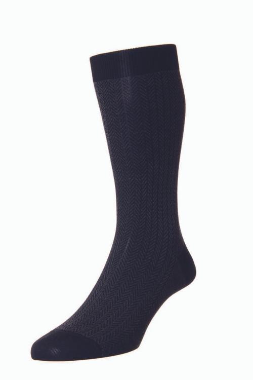 Pantherella Fabian Cotton Lisle Herringbone Socks - Black