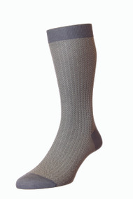 Pantherella Fabian Cotton Lisle Herringbone Socks - Mid Grey