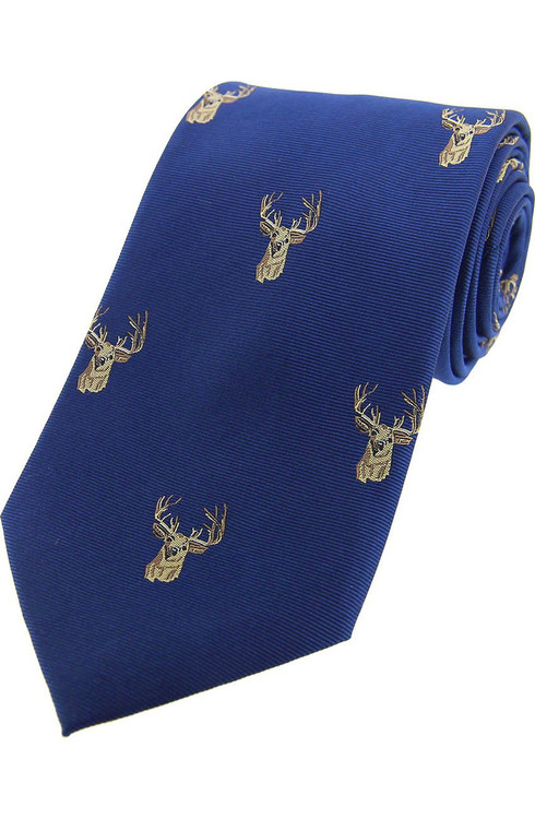 Woven Silk Stag Tie -  Blue
