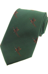 Woven Silk Flying Pheasants Tie -  Green