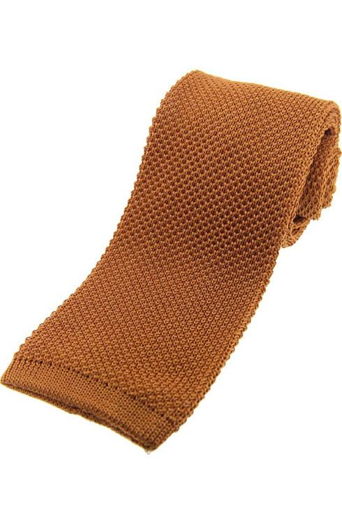 Knitted Silk Tie -  Rich Gold