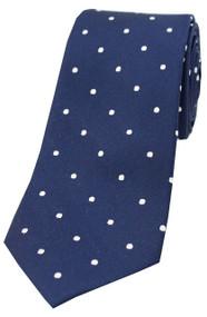 Woven Silk Polka Dot Tie -  Navy