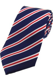Woven Silk Tie - Navy/Red/White Stripe