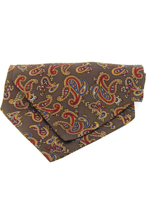 Paisley Silk Cravat -  Brown