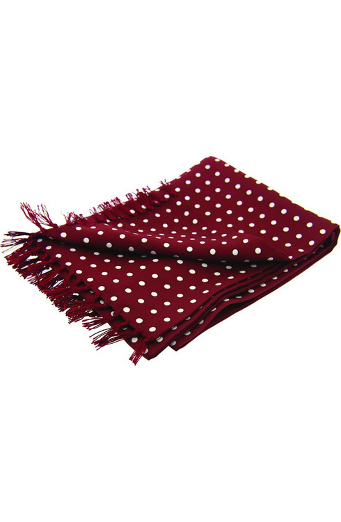 Polka Dot Silk Scarf - Wine
