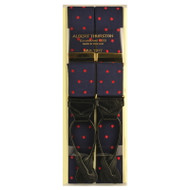 Albert Thurston Luxury Braces with Leather Ends - Navy/Red Polka Dot