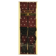 Albert Thurston Luxury Braces with Leather Ends - Wine Polka Dot