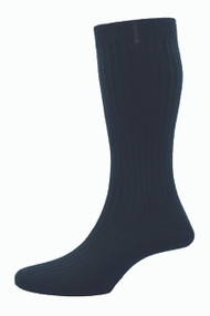 Pantherella Hemingway Escorial Wool Rib Socks - Black