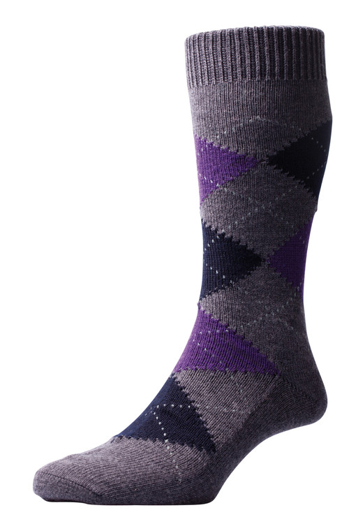 Pantherella Racton Argyle Merino Wool Socks - Grey/Purple