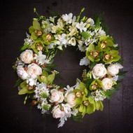 Green & Cream Sympathy Wreath