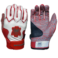 2015 Spiderz WEB White/Red Batting Gloves