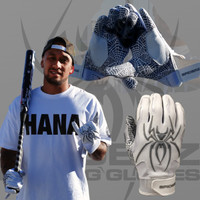 2015 Spiderz Hybrid SHAKA White/Silver Batting Gloves