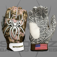 2016 Spiderz Hybrid Desert Camo Batting Gloves with USA Flag