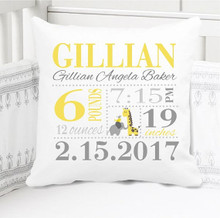 Birth Announcement Pillow - Birth Stats Pillow -  Girls giraffe - Personalized Pillowcase and Pillow Insert