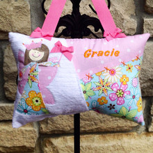 Girls Personalized Tooth Fairy Pillow - Tangerine