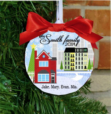 Christmas Ornament – Personalized New Home with City House Address, Family Names