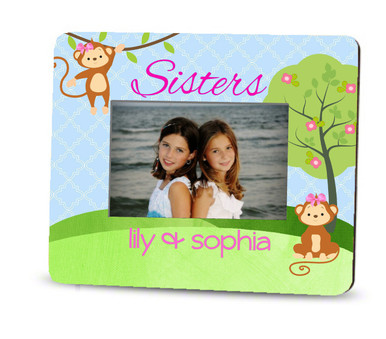 Picture Frame – Personalized sisters / monkeys