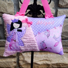 Personalized Girls Tooth Fairy Pillow Custom Made in Unicorn Fabrics