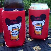 Bachelorette Coolie Koozie Personalized for Can or Bottle – mouse ears and beers close up