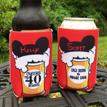 Birthday Coolie Koozie Personalized for Can or Bottle – Cheers and Beers to 21st, 30th, 40th, 50th - Disney Mouse Ears and Cold Beers