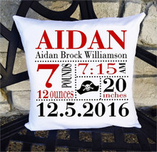 Birth Announcement Pillow - Boys Red Black Pirate - Includes Custom Pillowcase with Pillow Insert