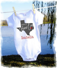Baby girls t shirt onesie - made in birth state - texas