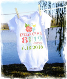 Baby girls t shirt onesie - birth stats - coral floral