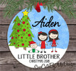 Christmas Ornament – Personalized little brother - two siblings