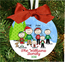 Personalized Christmas Tree Ornament – Family with Custom Stick People Characters - Sweater Family