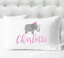 Personalized pillow case - girls pink elephant - case only - pillow not included