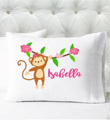 Personalized pillow case - girls monkey - case only - pillow not included