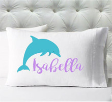 Personalized pillow case - girls dolphin - case only - pillow not included