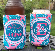 Beach Vacation KOOZIES ® or Neoprene Can Coolers - Sun Sand Drink in My Hand - Personalized Can/Bottle Coolers -  Adult Party Favors - Pink Teal
