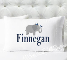 Personalized pillow case - boys navy and gray elephant pillowcase only - pillow not included