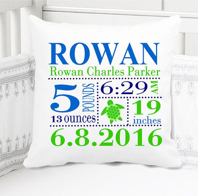 Birth Announcement Pillow - Boys Sea Turtle Theme, with Custom Pillowcase and Pillow Insert