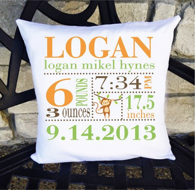 Boys Birth Announcement Pillow Personalized with Baby's Stats - Jungle Monkey Nursery