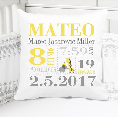 Boys Birth Announcement Pillow Personalized with Baby's Stats – Giraffe Jungle Animals Nursery